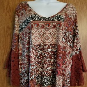 Roommates Brown Multi-color Top, Size 1x